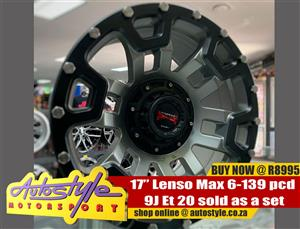 17 inch Lenso Max 6-139 pcd 9j Et 20 sold as a set of four