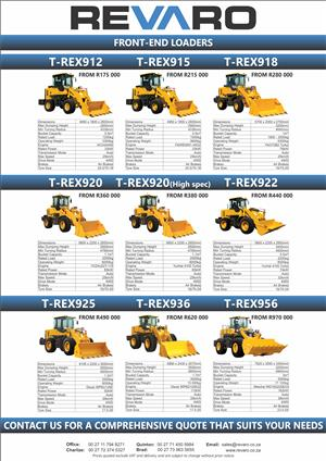 Revaro offers a wide range of T-Rex front end loaders They are tough and hard working with best diesel engines