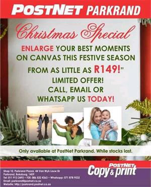 Get your Christmas Special on Canvas Prints and send your Gifts