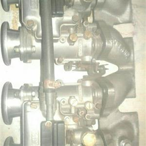 40 mm twin dellorto side draughts and rowland intake manifold for sale