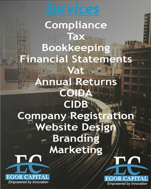 Company Registration Compliance Annual Returns Financial Statement Website Design CIDB COIDA VAT Bookkeeping Marketing Branding