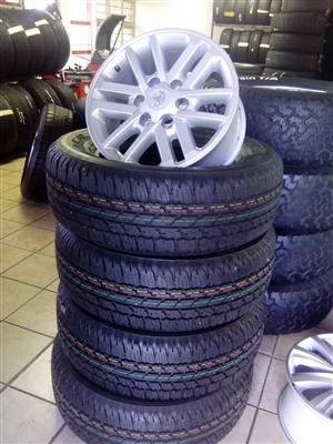 Silver twinspok 17 inch rims with 265/65/17 Bridgestone Dueller brand new tyres R11500 set.