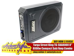 Targa 8 inch  8000w Compact Sub and Amp Combo - 2.5 inch tall