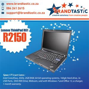 Lenovo Thinkpad R61 Laptop & Charger @ R2150
