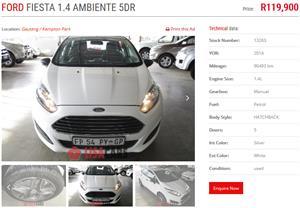 2014 Ford Fiesta hatch 5-door FIESTA 1.6i AMBIENTE 5Dr