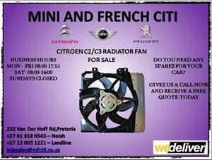 Citroen c2 and c3 radiator fan for sale