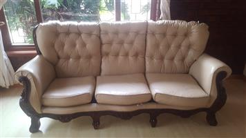Beautiful genuine leather and solid wood lounge suite for sale