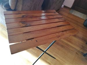 Solid wood fold up table