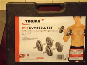 TROJAN 20kg DUMBELL SET with original box for sale  Roodepoort