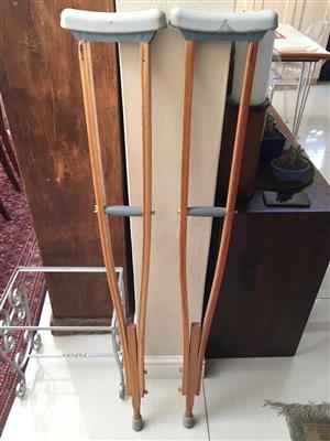 Pair of Adjustable Wooden Crutches for underarm stability