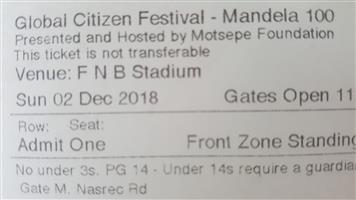 2x global citizen Mandela 100 tickets