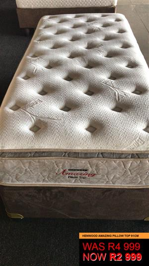 Brand New!! Shop Soiled/Floor Display Premium Base and Mattress Sets from R2999