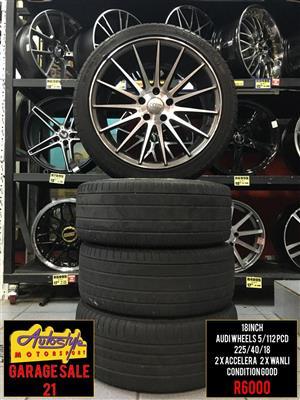 Garage Sale 21 R6000 18 inch Audi Wheels 5-112 pcd  2 x 225-40-18 inch Accelera Tyres