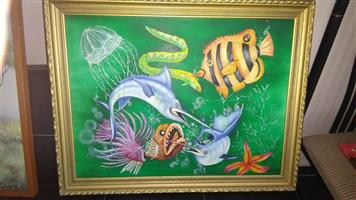 Framed fish painting for sale