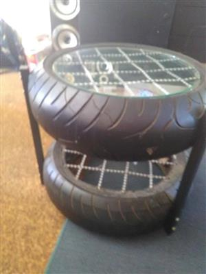 Glass top tyre side table