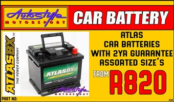 Batteries AtlasBX SMF Sealed Car Battery assorted sizes