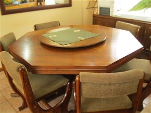 Solid Imbuia wood dining room suite.