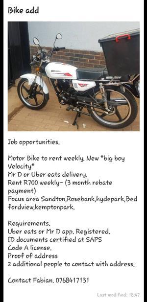 Motor bike to rent.