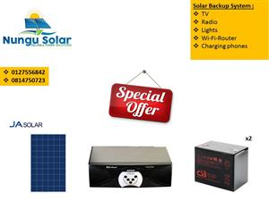 BACK UP SOLAR SYSTEM FOR LIGHTS,TV,RADIO AND MANY MORE