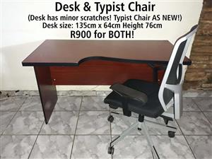 Desk and typist chair for sale
