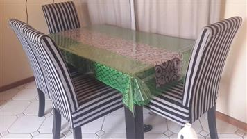 4 SEATER GREEN TOP DINING SET