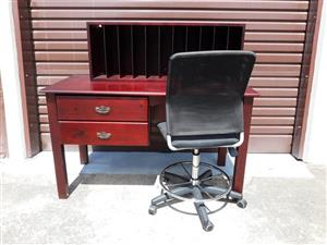 Study desk with office chair and file organiser ( solid wood)