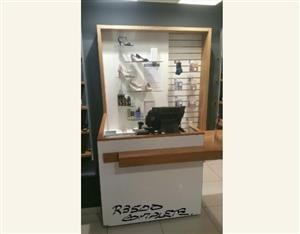 Shop fitting suitable for shoe shop or clothing shop.