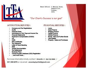 All financial services/vat/ finance/ bonds applications/business registrations and much more