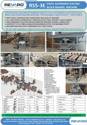 Brick making machine Revaro RS5-3E Static Electric fully automatic Best quality and high output profitable