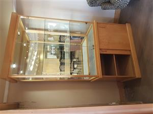 Solid oak with glass display cabinet with lighting for sale