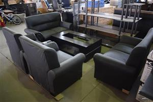 4 Piece grey leather lounge suite