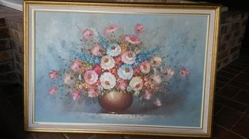 Paintings and sandblast mirror