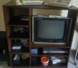 Wooden tv stand with shelves