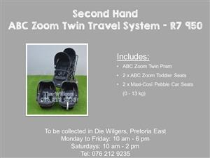 Second Hand ABC Zoom Twin Travel System (Black)