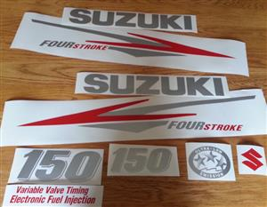 Suzuki 150 DF Outboard motor cowl stickers decals graphics kit