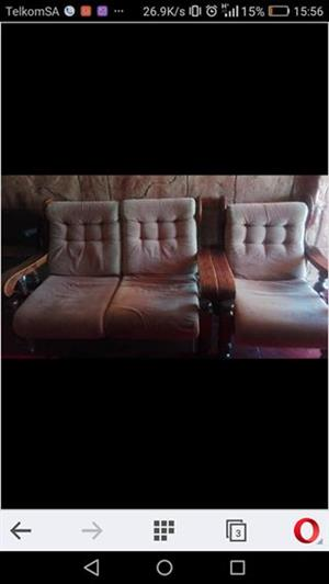 6 seater solid wood (imbuia)lounge suite