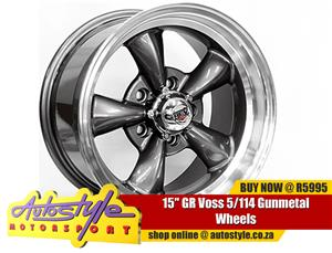 15 inch GR Voss 5 114 Gunmetal Wheels, widest range mag alloys in stock, unbeatable prices - 5-114 pcd - 0 offset - CB73.1 - sold as a set of 4