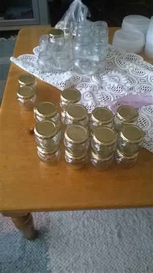 Glass Jars 106 ml  plus Plastic tubs 250 ml