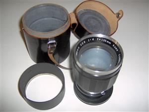 Kowa (Japan)  f 135mm   1:4  lens  with shield.