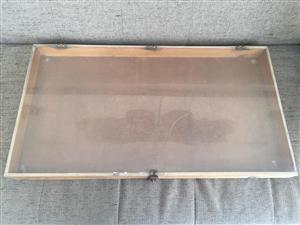 Wooden display box with clear perspex cover lid