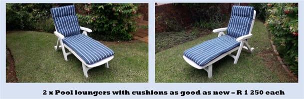 2 Patio loungers with cushions