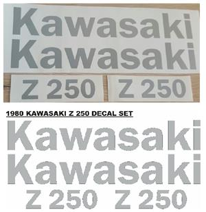 Graphics decals stickers kits for a 1980 Kawasaki Z 250 motorcycle