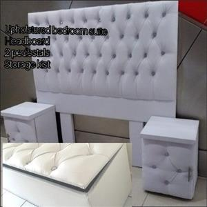 White upholstered button bedroom suite