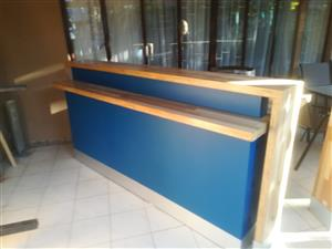 Reception desk and chairs