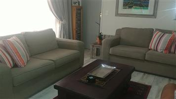 2x beige 2 seater couches