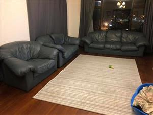 "Full ""greenish"" leather couches for sale."