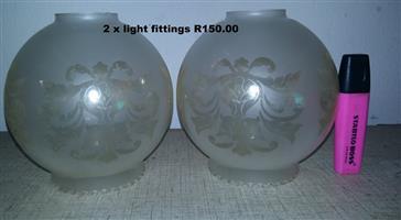 2 Glass light fittings