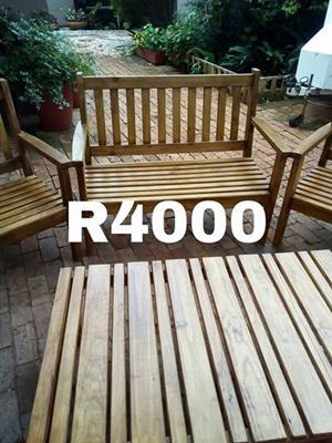 Wooden patio set for sale