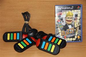 PS2 Buzz Hollywood quiz with 4 wired buzzers