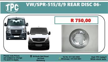 VW Crafter & Mercedes Benz 515/8/9 Rear Disc For Sale @ TPC